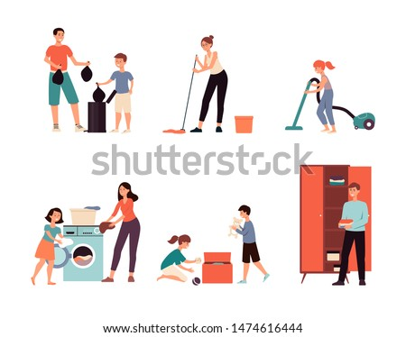 Cartoon family cleaning the house - isolated flat drawing set. Parents and children doing laundry, organising closet, taking out trash, using a vacuum. Hand drawn vector illustration