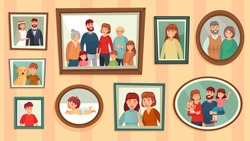 Cartoon family photo frames. Happy people portraits in wall picture frames, family portrait photos. Families generation framed portraits, dynasty photograph wall decor vector illustration