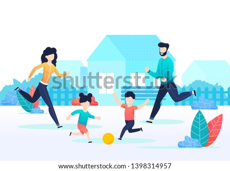 Cartoon Family Playing Ball Together on Backyard. Active Parents and Children in Countryside. Sport Games. Outdoor Activity. Healthy Lifestyle. Happy Childhood and Parenting. Vector Flat Illustration