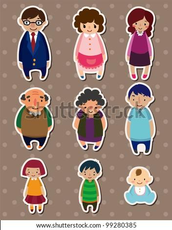 cartoon family Stickers,Label - stock vector
