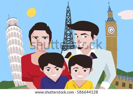 cartoon family taking selfie