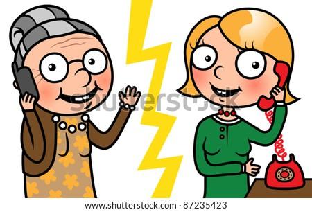cartoon family  two women