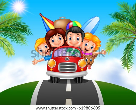 Shutterstock Cartoon family vacation