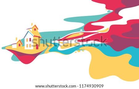 cartoon fantasy landscape illustration, village house and river, dreamland, fantasy world