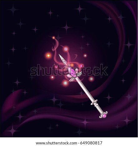 Cartoon fantasy magic icon for computer game. Magic wand with gemstone on dark background, gaming object for app. Vector illustration.