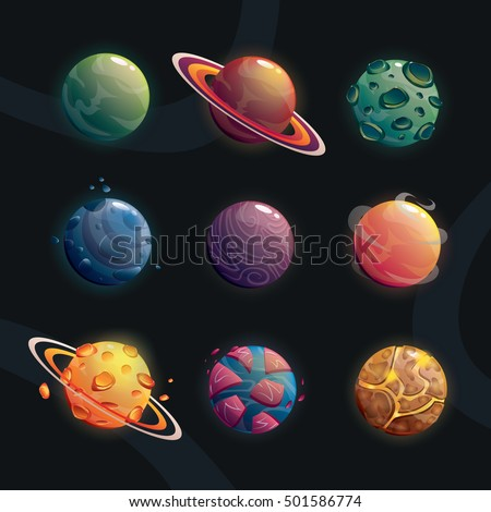 Cartoon fantasy planets set on space background. Vector illustration