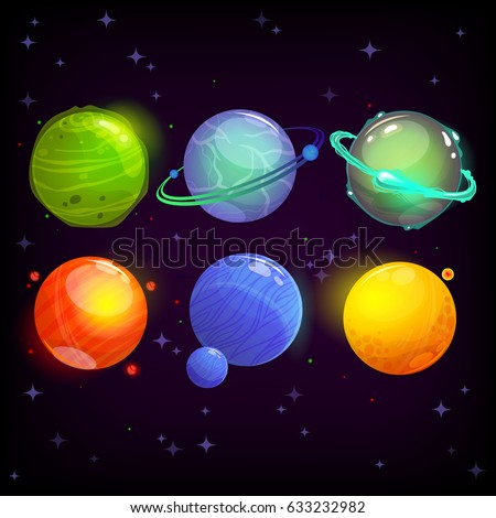 cartoon fantasy planets set on