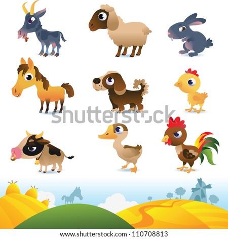 Cartoon farm animals - stock vector