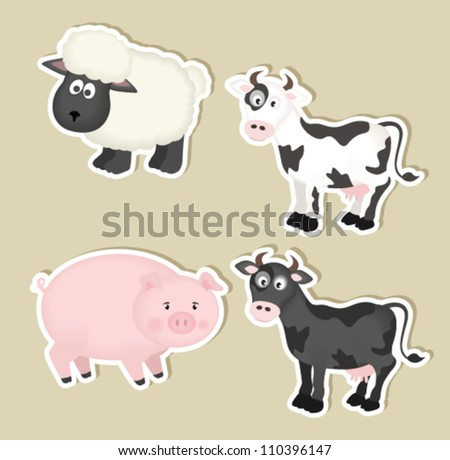 cartoon farm animals. paper sticker set - stock vector