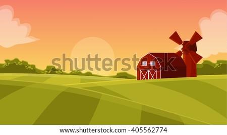 cartoon farm field green