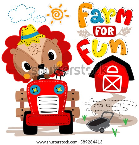 cartoon farmer lion driving a