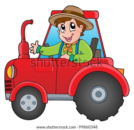 Cartoon farmer on tractor - vector illustration.