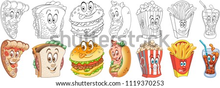 Cartoon Fast food Collection. Coloring pages and colorful designs for coloring book, t-shirt print, icon, logo, label, patch, sticker. Vector illustrations. #1119370253