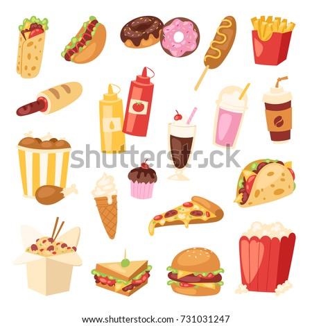 Cartoon fast food unhealthy burger sandwich, hamburger, pizza meal restaurant menu snack vector illustration.