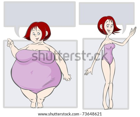 Cartoon Fat-slim illustration. - stock vector