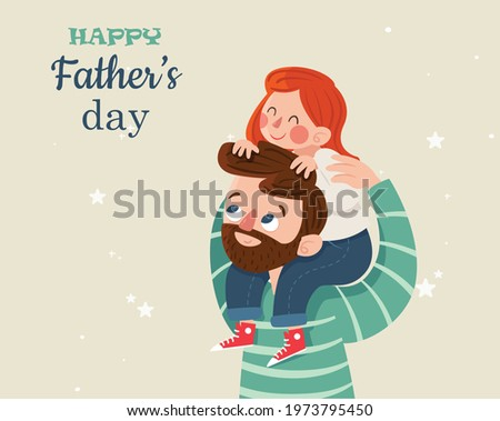Cartoon father-s day daugther and father illustration