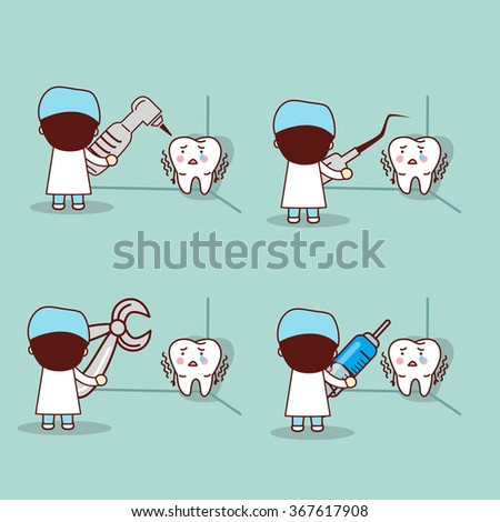 cartoon fear tooth with dentist