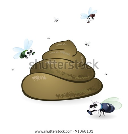 Cartoon feces and flies. Illustration on white background