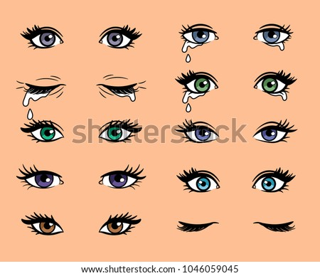 cartoon female eyes colored