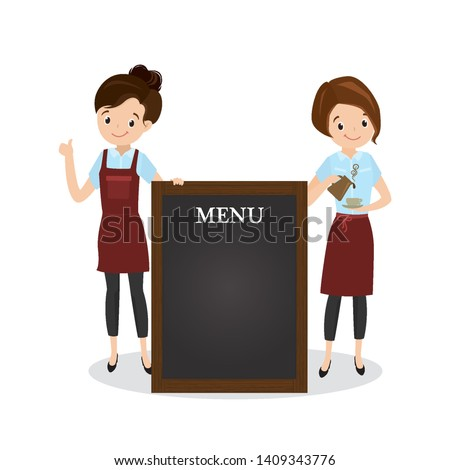 Cartoon female waiters near menu board, beauty caucasian woman characters in uniform, restaurant or coffee shop staff,isolated on white,flat vector illustration