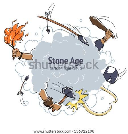 cartoon fight cloud stone age