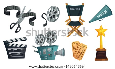 Cartoon film studio. Cinema video camera, movie clapperboard and directors megaphone. Film director chair, tv camera, hollywood cinematography prize and ticket. Isolated vector illustration icon set