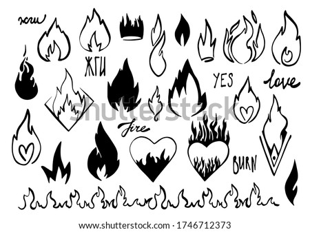Cartoon fire flame. Graphic element vector. Sketch crown, fire heart, in love. Hand drawing hot black tattoo illustration on white vintage background. Line silhouette bonfire draw. Retro brush outline Foto stock ©