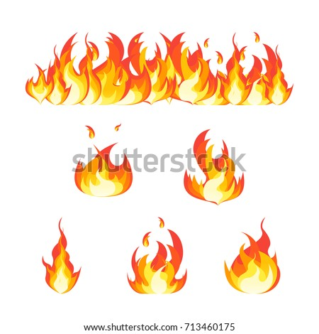 Cartoon Fire Flames Set and Line Light Effect for Web, Game Design Flat Style. Vector illustration
