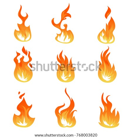 Cartoon fire flames vector set. Ignition light effect, flaming symbols. Hot flame energy, effect fire animation illustration