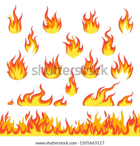 Cartoon fire set. Hot temperature curve painting comic dangerous flame fires isolated vector blazing red chimney flaming illustration and seamless pattern