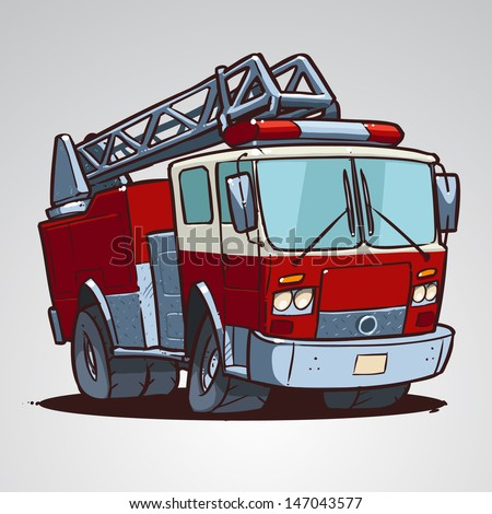 Cartoon fire truck isolated