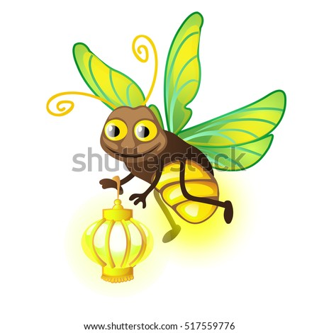 cartoon firefly with lantern