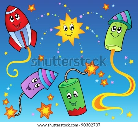 Cartoon fireworks theme 2 - vector illustration.