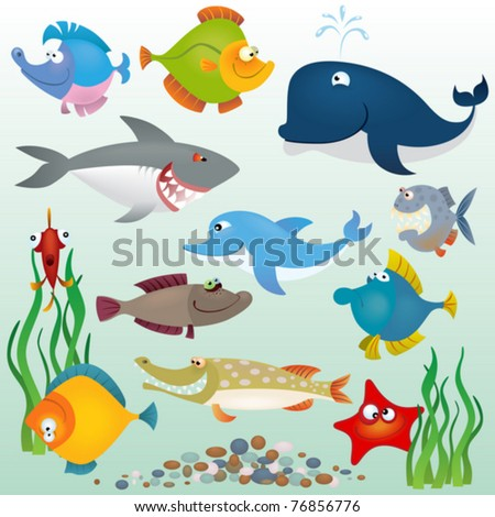 Cartoon fish set - stock vector