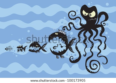 Cartoon fish silhouettes. The background is detached.