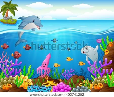 stock vector cartoon fish under the sea 403741252 - Каталог — Фотообои «Для детской»