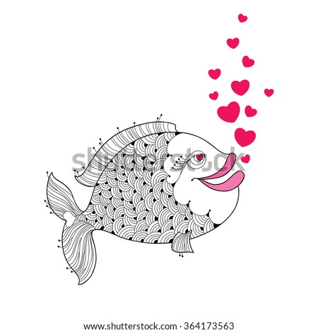 cartoon fish with pink lips and