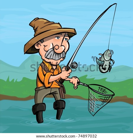 Cartoon fisherman catching a fish. He is standing in a river