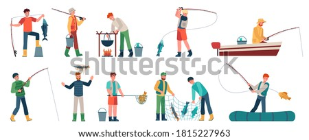 Cartoon fisherman. Men in boats holding net or spinning. Fisher with fish, fishing accessory, hobby angling vacation vector characters. Hobby leisure activity illustration