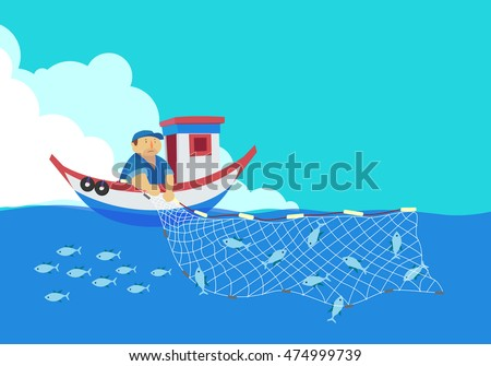 cartoon fisherman  vector