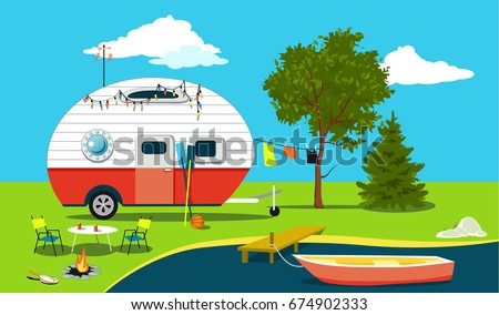 Cartoon fishing trip scene with a vintage camper, a boat, a fire pit, camping table and laundry line, EPS 8 vector illustration, no transparencies