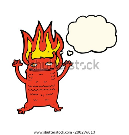 cartoon flaming demon imp