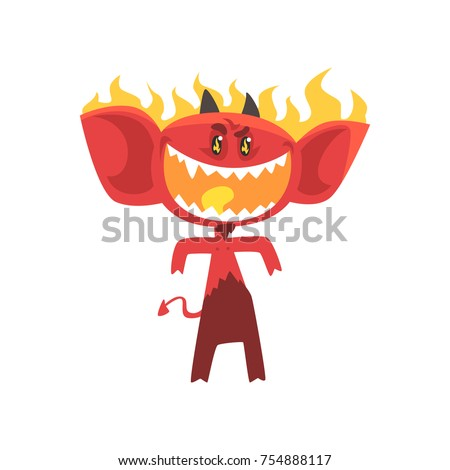 cartoon flaming fire devil
