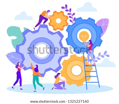 Cartoon Flat Big Gears Teamwork Generation Fresh Ideas. Man Turning Wheel Girl Holding Large Light Bulb. On Background Sky Girl Points Finger in Solving Problem and Approach Matter.