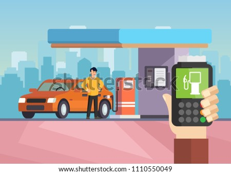 Cartoon flat gas station. Purchase of gasoline. Vector illustration man is refilling car with gasoline. Clipart. Gas petroleum station flat concept vector.