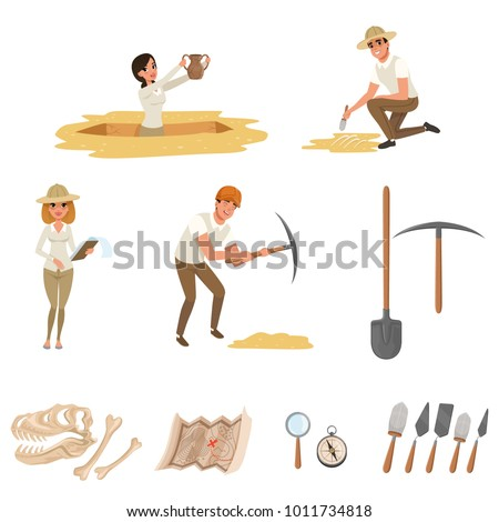 Cartoon flat icons set with tools for archaeological excavations, dinosaur skeleton, and people-archaeologists in working process. Archeology vector symbols