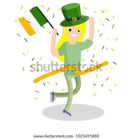 Cartoon flat illustration- a young girl runs with a ribbon. The celebration of the Irish holiday St. Patrick's day. A woman dressed in green with a hat and a flag. Happiness and joy of man.