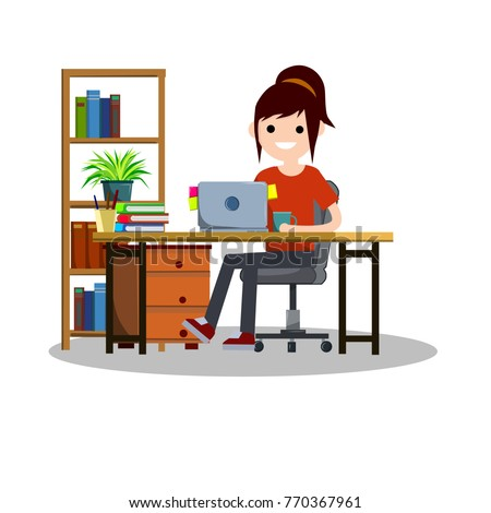 cartoon flat illustration - a young  girl student sitting on a chair at a Desk with a computer and books.