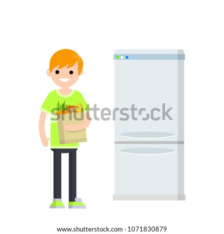 Cartoon flat illustration - the young guy is in the hands of a bag of food for a healthy diet. refrigerator appliance. a man prepares food. freezing vegetables. maintaining the cold.