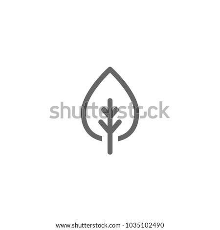 Cartoon flat  leaf outline icon. eco sign isolated on white. Vector illustration. Leaflet organic icon.